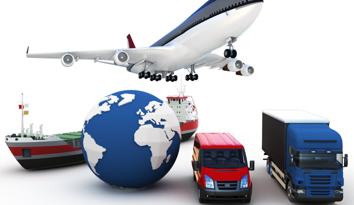 3d global cargo transport concept isolated on white